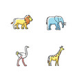 african wildlife rgb color icons set vector image