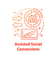 assisted social conversions concept icon vector image vector image