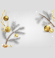 background with coniferous branches and baubles vector image vector image