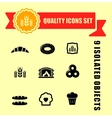 bakery products icons with red tape vector image