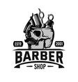 barber logo with skull and barber tools emblem vector image vector image