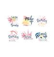 beauty salon logo or labels design set vector image vector image