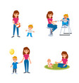 bebisitter deals with children the nanny feeds vector image vector image