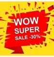Big sale poster with WOW SUPER SALE MINUS 30 vector image vector image