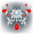 brooch with rubies vector image vector image