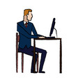 business man entrepreneur in a suit working on a vector image