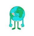 cartoon character sick earth vector image vector image