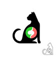 cat silhouette with stomach symbol pet animals vector image vector image