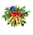 Christmas decoration evergreen trees and bells vector image
