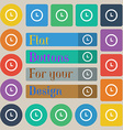 clock icon sign Set of twenty colored flat round vector image