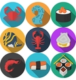 Colored seafood flat icons vector image