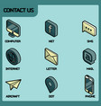 contact us color outline isometric icons vector image vector image
