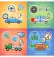 Driverless Car Autonomous Vehicle 2x2 Icons Set vector image vector image