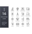 education line icons set black vector image
