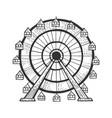 ferris wheel sketch engraving vector image vector image