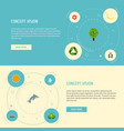 flat icons landscape bear playful fish vector image vector image