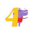 funny cute hippo animal and number four birthday vector image vector image