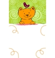 Greeting card with red cat and place for text vector image vector image