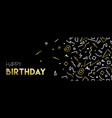 happy birthday web banner with gold decoration vector image vector image