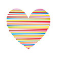 heart striped colored icon valentine day vector image