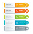 infographics tab in horizontal paper index with 5 vector image vector image