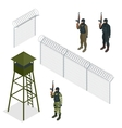 Isometric Security with a barbed wire fence vector image