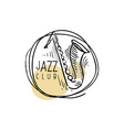 jazz club logo vintage music label with saxophone vector image vector image