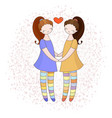 lesbian couple holding hands girls in love vector image