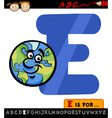 letter e with earth cartoon vector image vector image