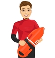 male lifeguard holding a rescue can vector image vector image