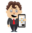 man with selfphone on white background vector image