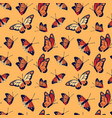 monarch butterfly seamless pattern background vector image