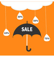 Monsoon season offer Black umbrella Cloud with vector image