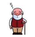 Old man sleeping and snoring vector image vector image