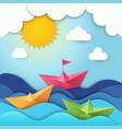 origami boat cut paper ocean waves shadows vector image