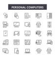 personal computers line icons signs set vector image vector image
