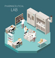 pharmaceutical production isometric composition vector image vector image