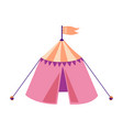 pink medieval tournament tent with orange flag vector image vector image