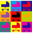 Pram sign Pop-art style icons set vector image