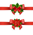 red ribbon with holly berry and poinsettia vector image vector image