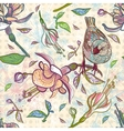 Seamless pattern of bird and summer flowers vector image
