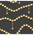 Seamless pattern with golden beads and stars vector image vector image