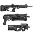 set machine guns vector image