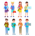 set student teenage girls and boys stylish group vector image
