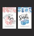 shrimp bar sea food card template sushi shop vector image vector image