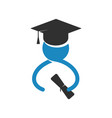 silhouette of student in graduate cap with diploma vector image