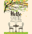 spring flowering tree table for two and lettering vector image
