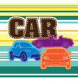 Stripes Background Different Cars Embroidery vector image vector image