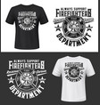 tshirt print with firefighters helmet ax ladder vector image vector image