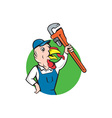 Turkey Plumber Monkey Wrench Circle Cartoon vector image vector image